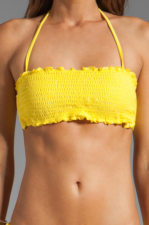 Vix Swimwear Sierra Rouche Bandeau in Yellow