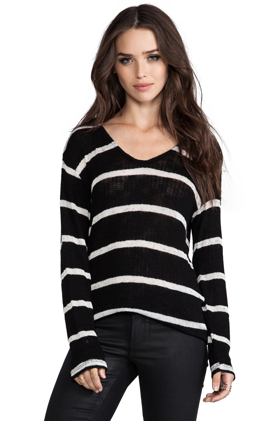 Whetherly Stripe Boucle Ezra Long Sleeve in Black at Revolve Clothing