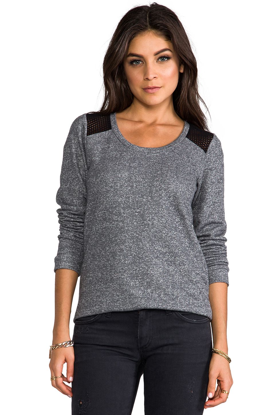 Whetherly Rosario Mesh Long Sleeve Tee in Gray at Revolve Clothing