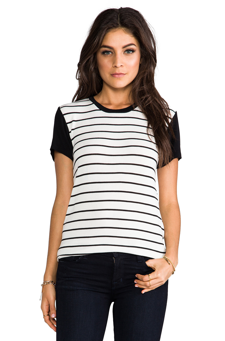 Whetherly Allen Stripe Tee in White at Revolve Clothing