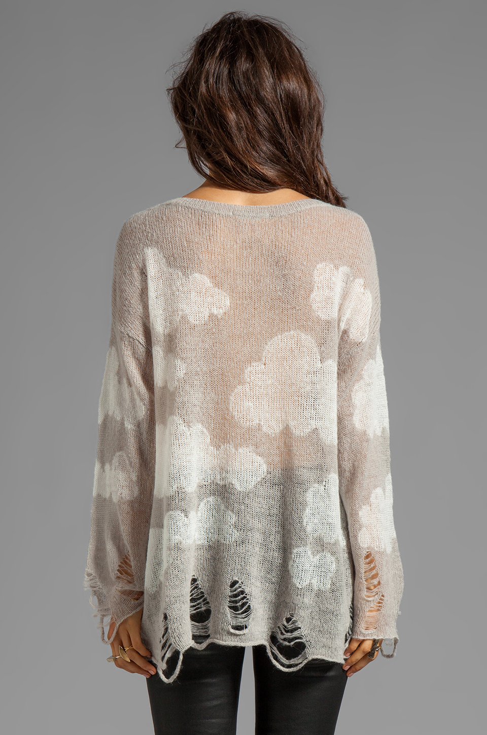 Wildfox Couture Cloudy Sky Lennon Sweater in Silver Polish
