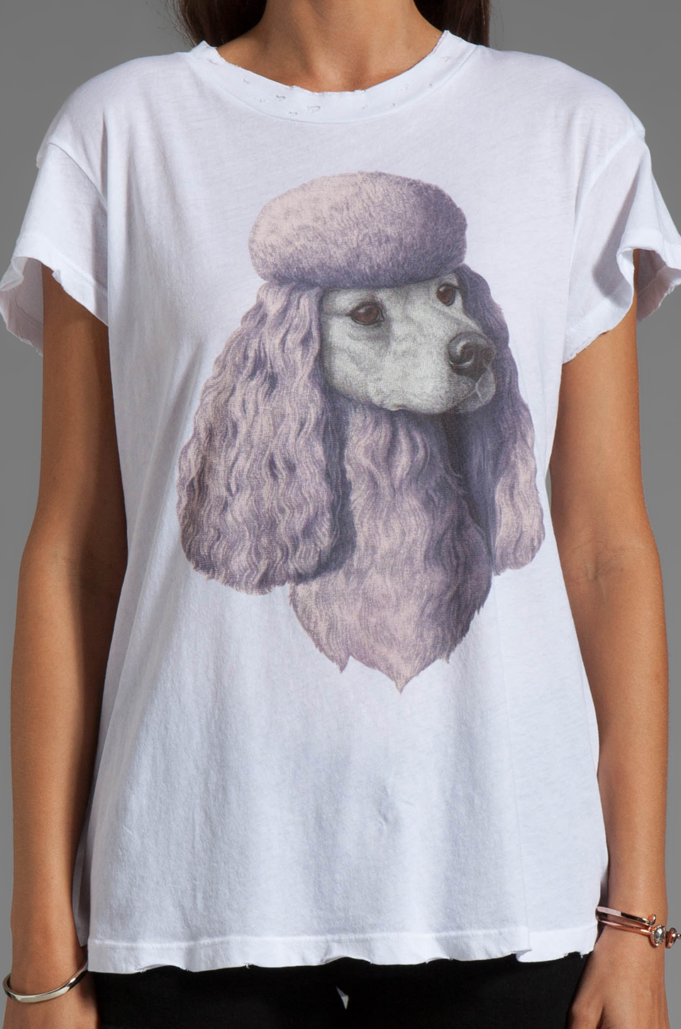Wildfox Couture Jersey Poodle Crewneck Graphic Tee in Clean White
