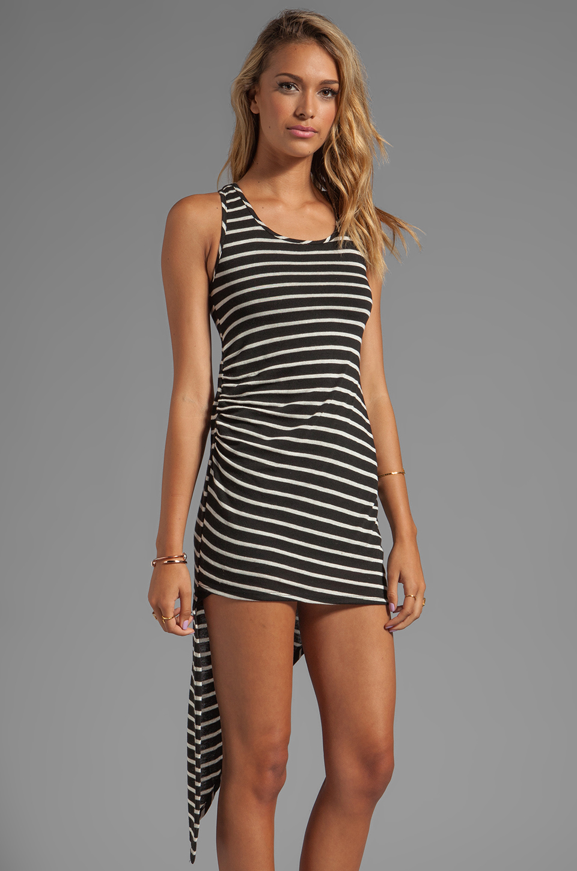 WOODLEIGH Astrid Asymmetrical Tank Dress in Black/White Stripe